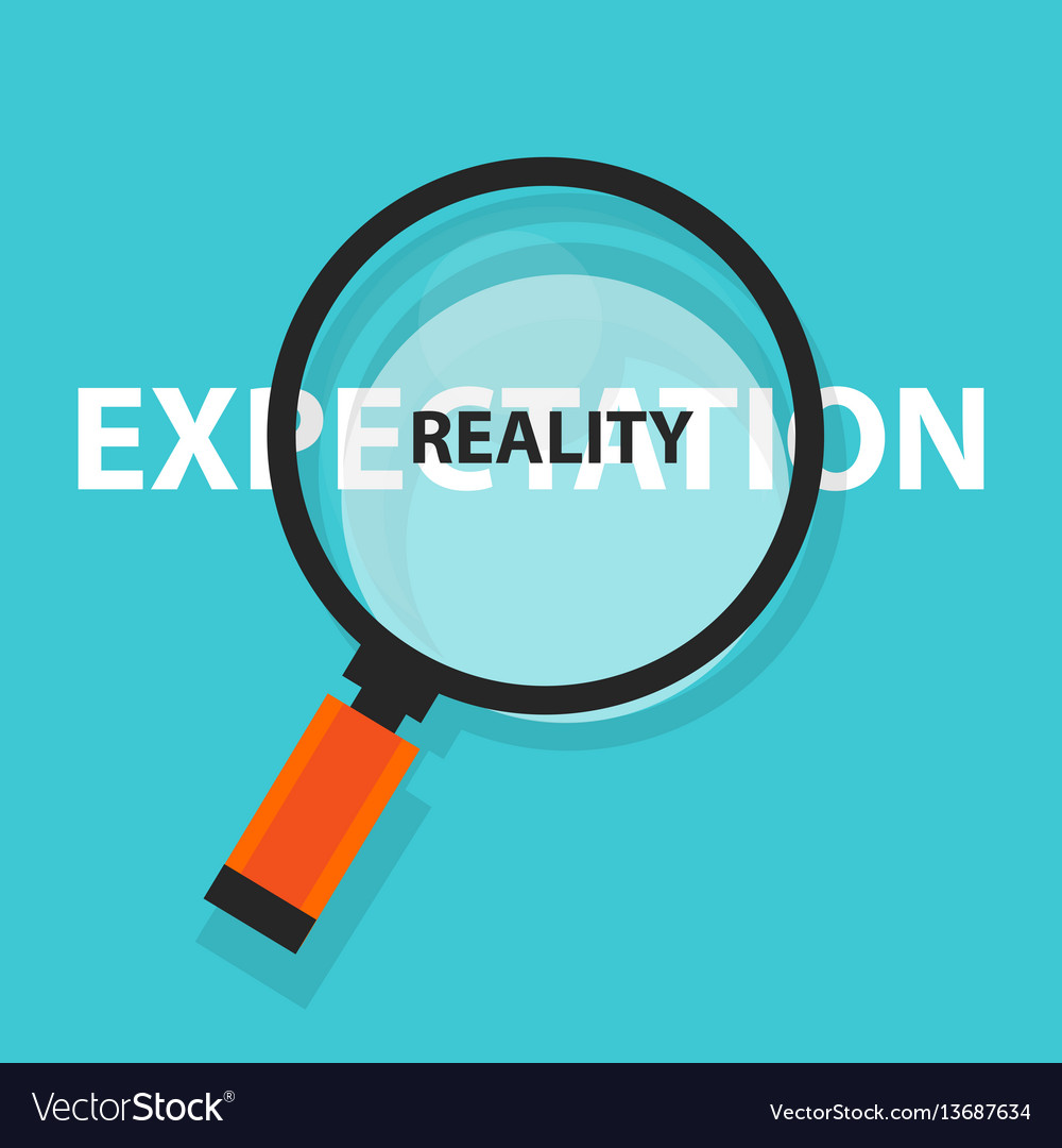 Expectation vs reality concept business analysis Vector Image