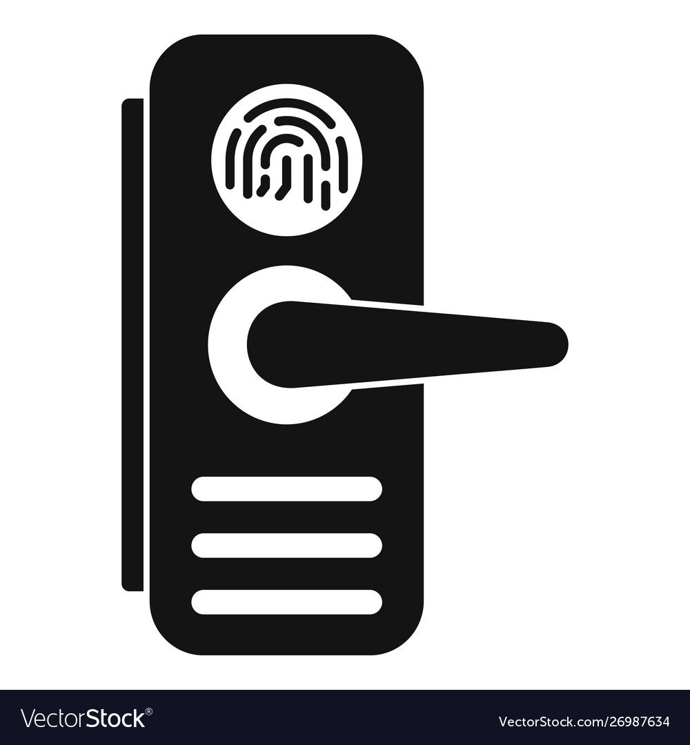 Fingerprint Door Lock Icon Simple Style Royalty Free Vector
