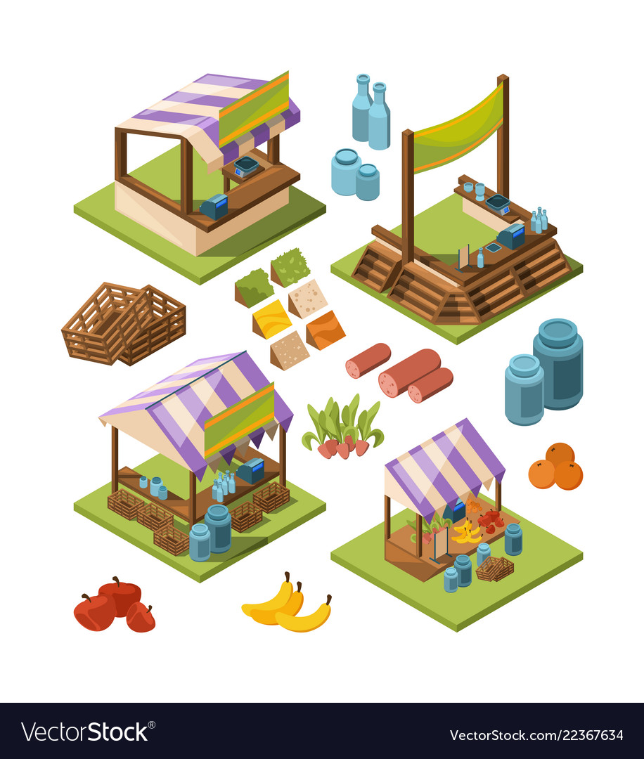 Local farm isometric food marketplaces with meat