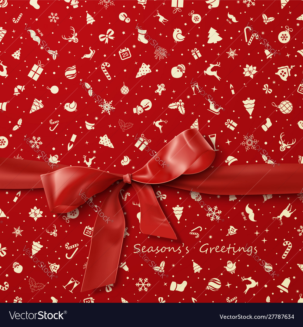 Red bow over red christmas wrapping paper icons pa