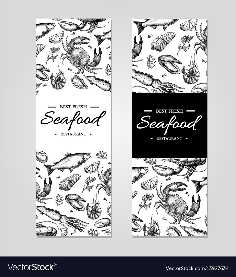 Seafood banner template set hand drawn