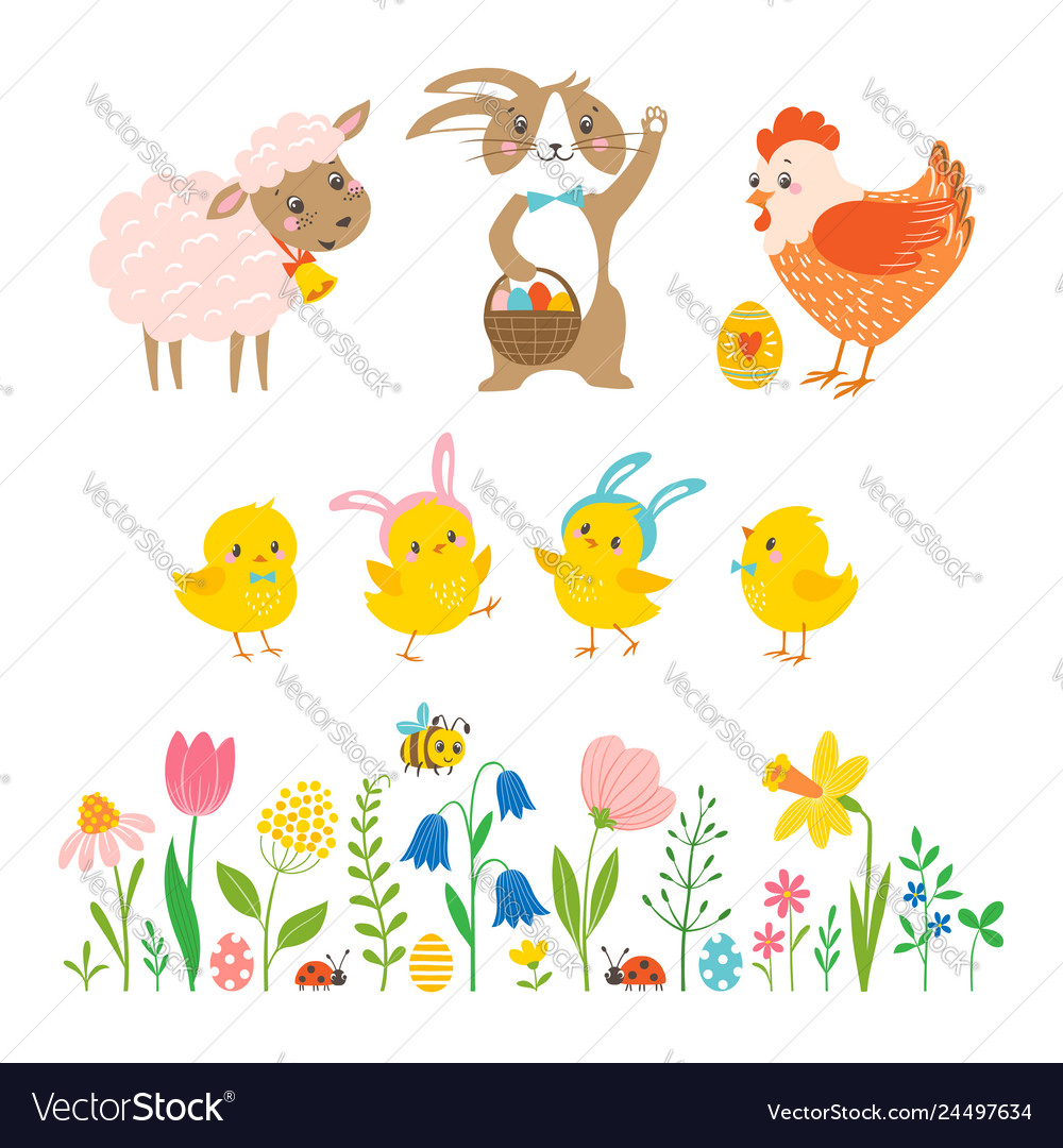 Set of cute easter characters and design elements
