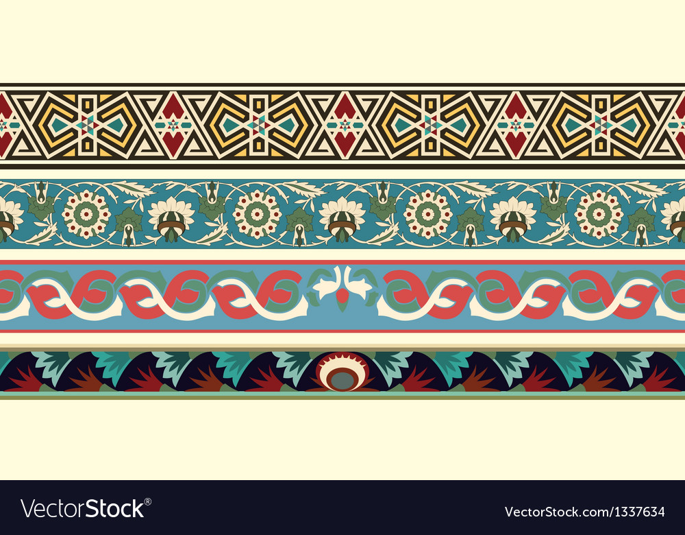 Set of four decorative arabesque borders vector image