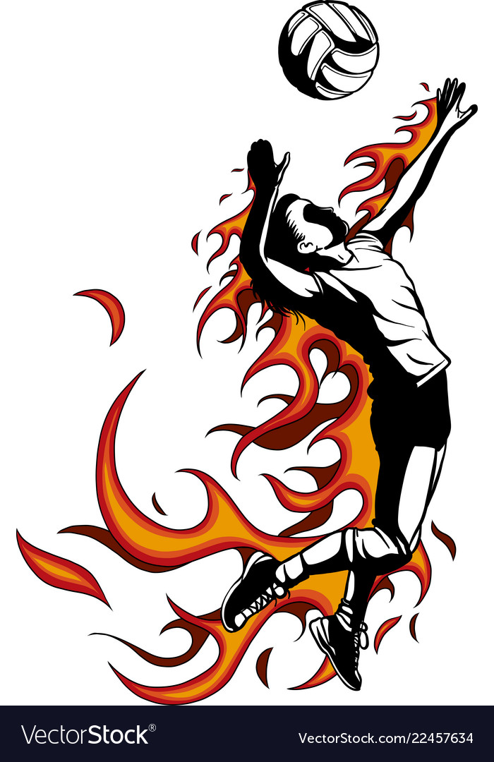 Silhouette of volleyball player with flames