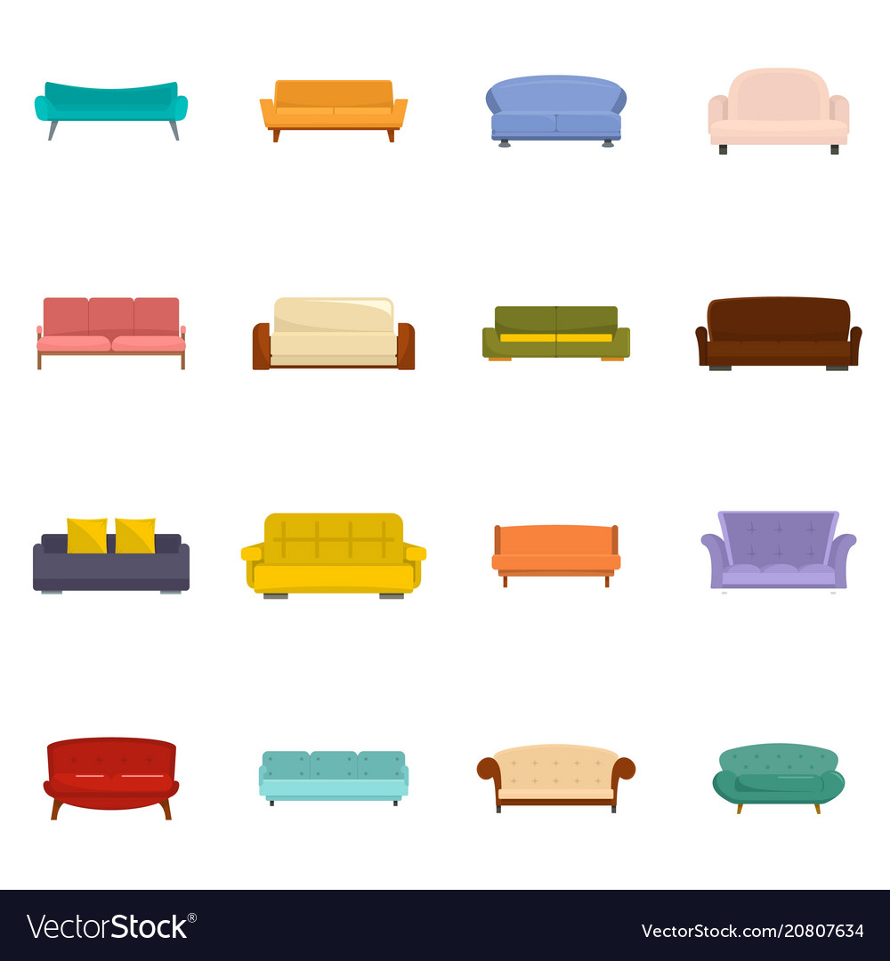 Sofa chair room couch icons set isolated