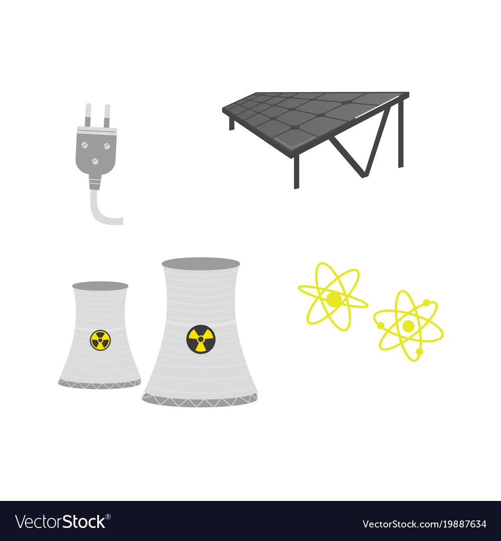 Solar panels nuclear power stationm plug