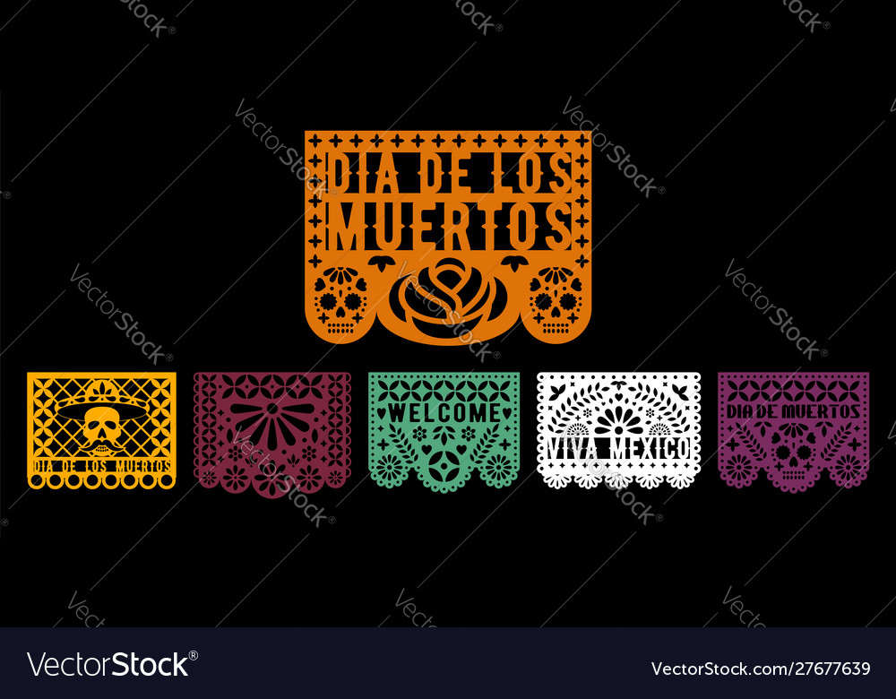 Colorful papel picado collection design template