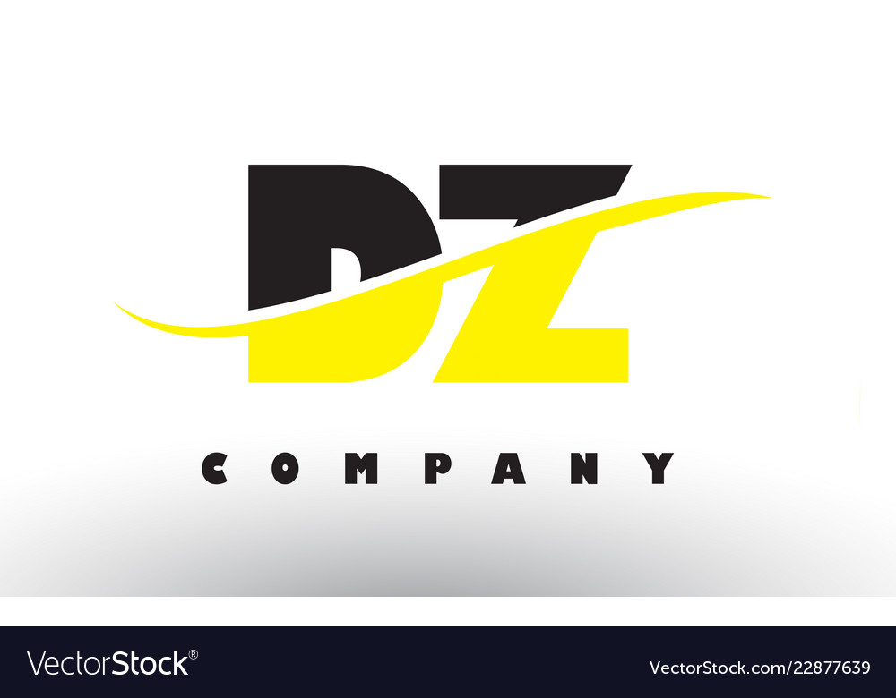 Dz d z black and yellow letter logo with swoosh
