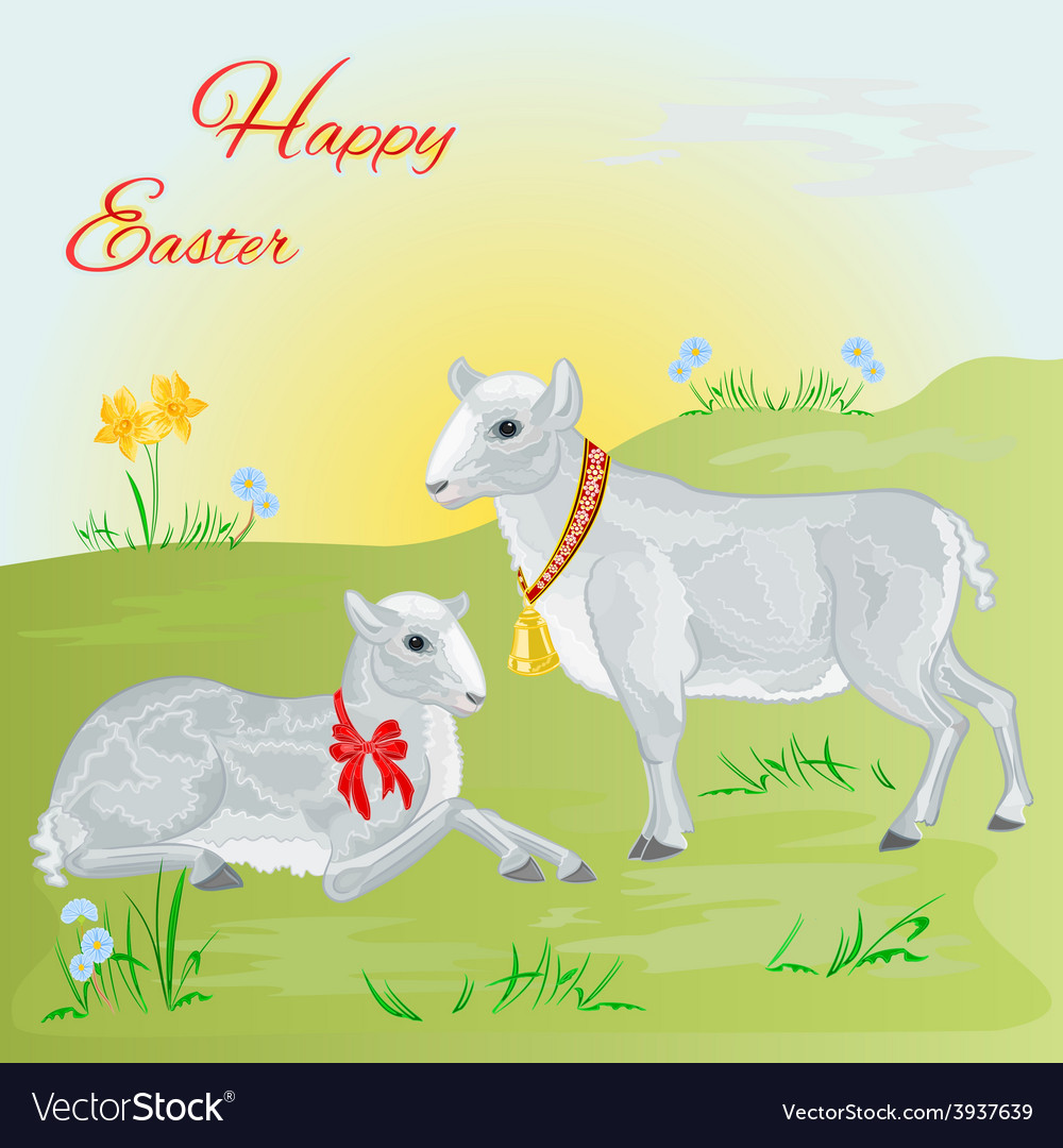 Easter lamb and sheep and daffodil
