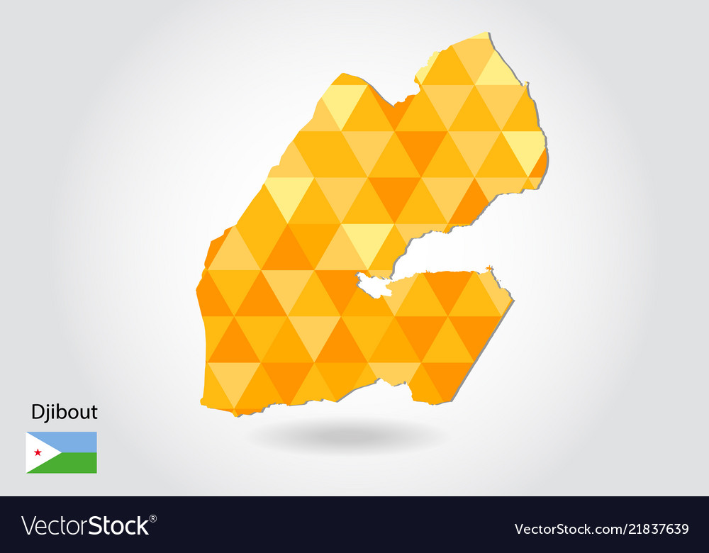 Geometric polygonal style map of djibout low poly