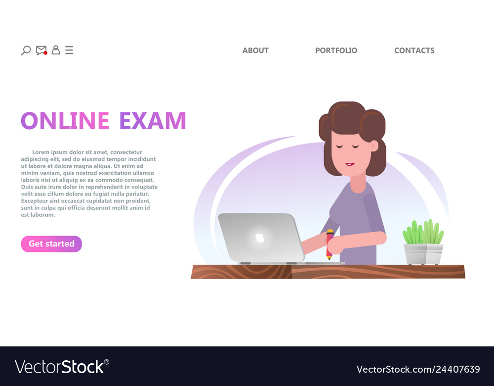 Online testing or exam service concept