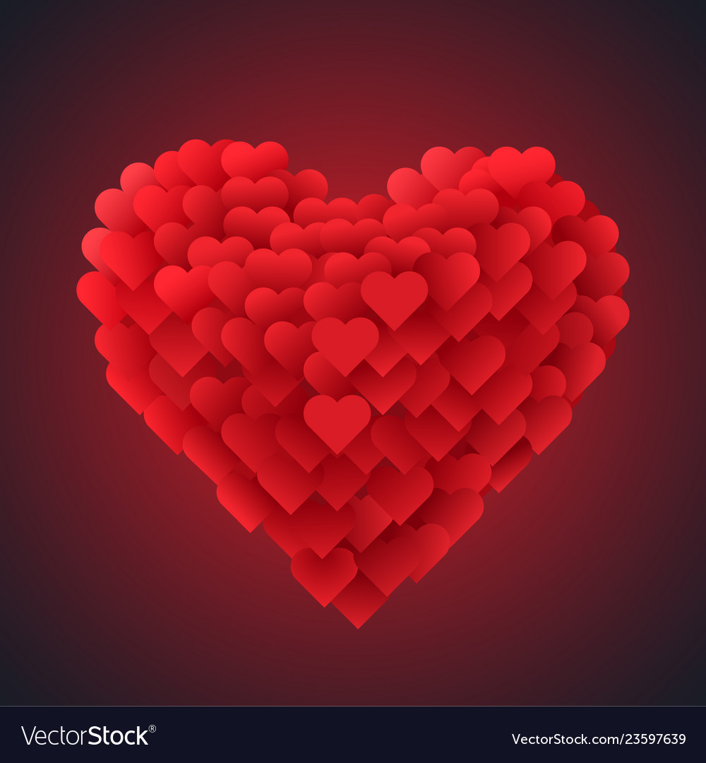 Red valentine heart isolated on dark background vector