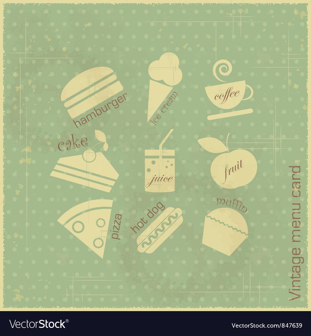 Retro menu card vector image