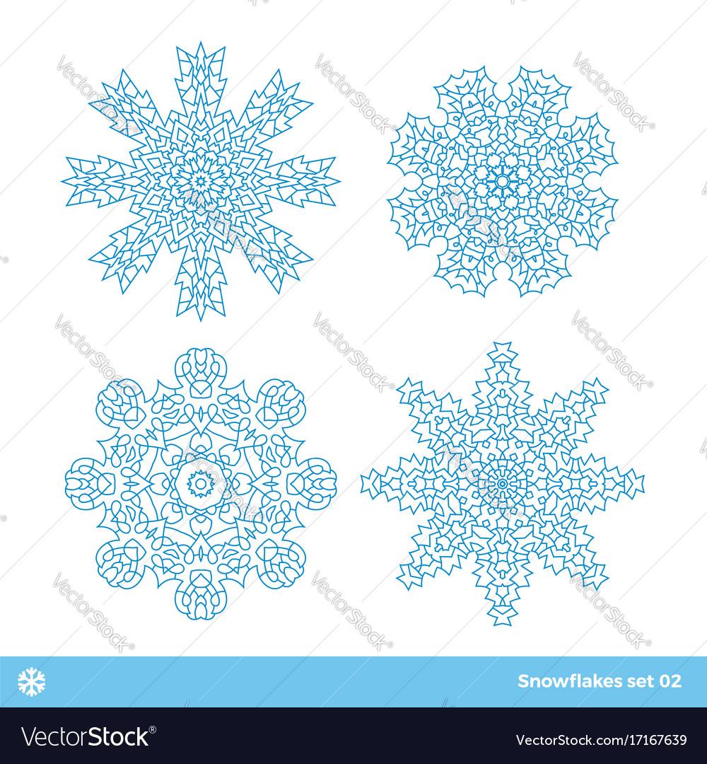 Snowflake symbols christmas snow icons set