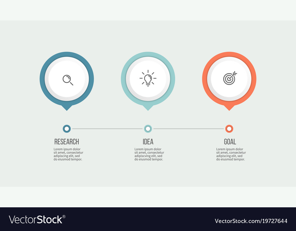 business process timeline with 3 options vector image
