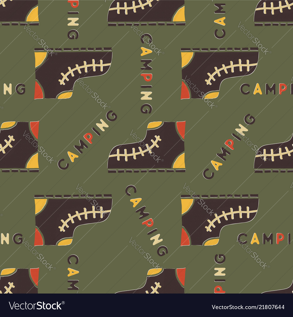 Camping boot seamless pattern mixed flat with