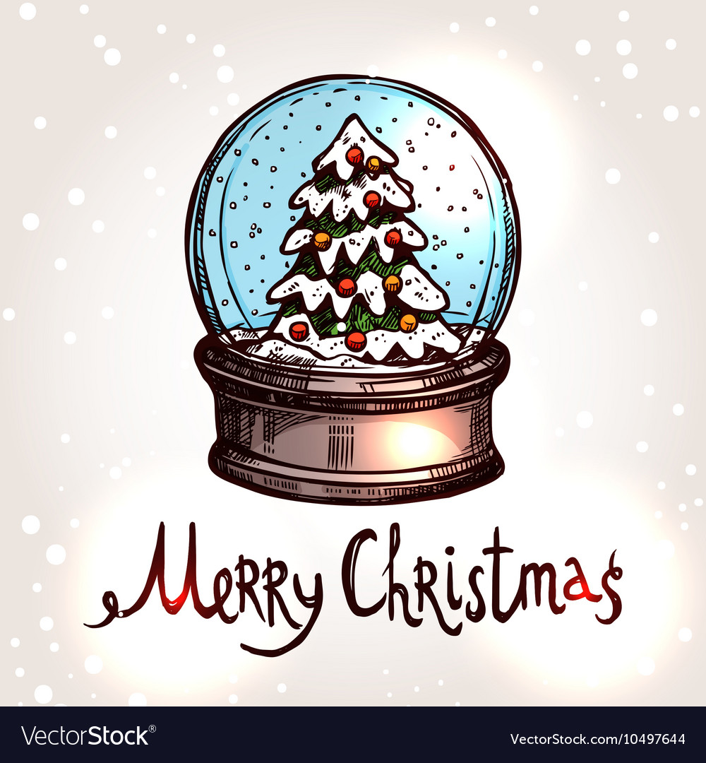 Christmas Card With Hand Drawn Snowglobe Vector Image