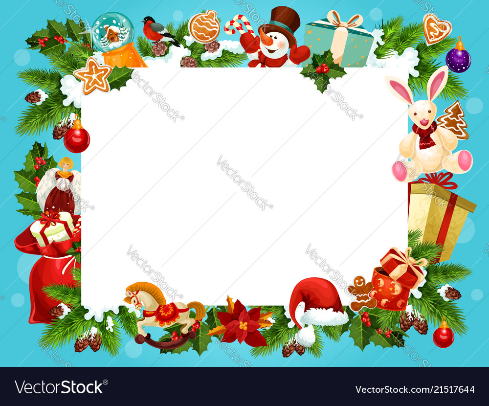 Christmas Holiday Frame For Greeting Card Design Vector Image