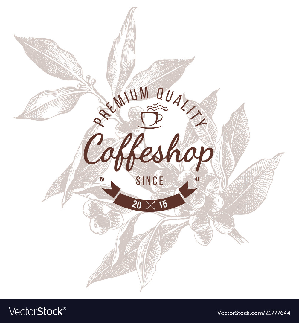 Coffeshop round emblem over hand sketched coffee