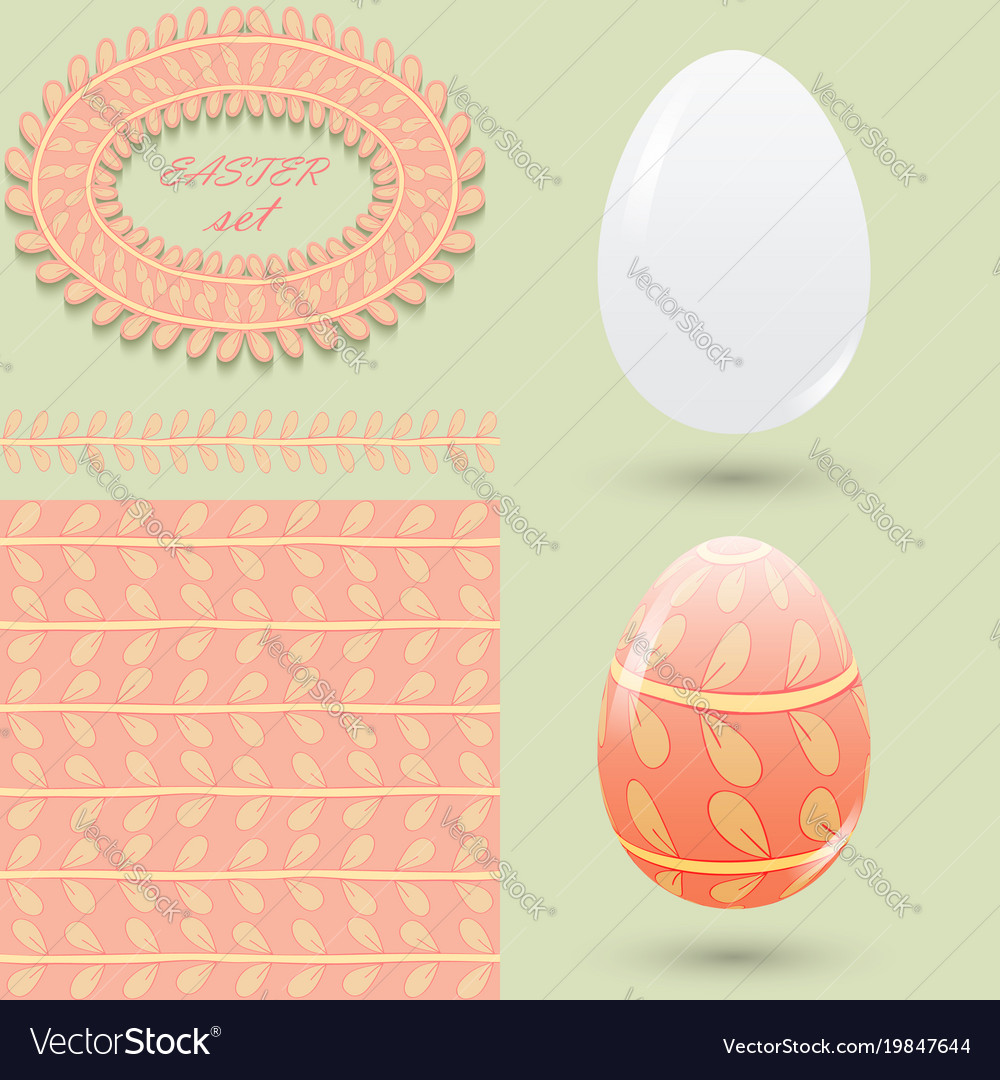 Easter set clean and colored eggs seamless