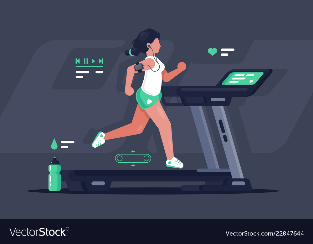 Flat silhouette young woman running on treadmill