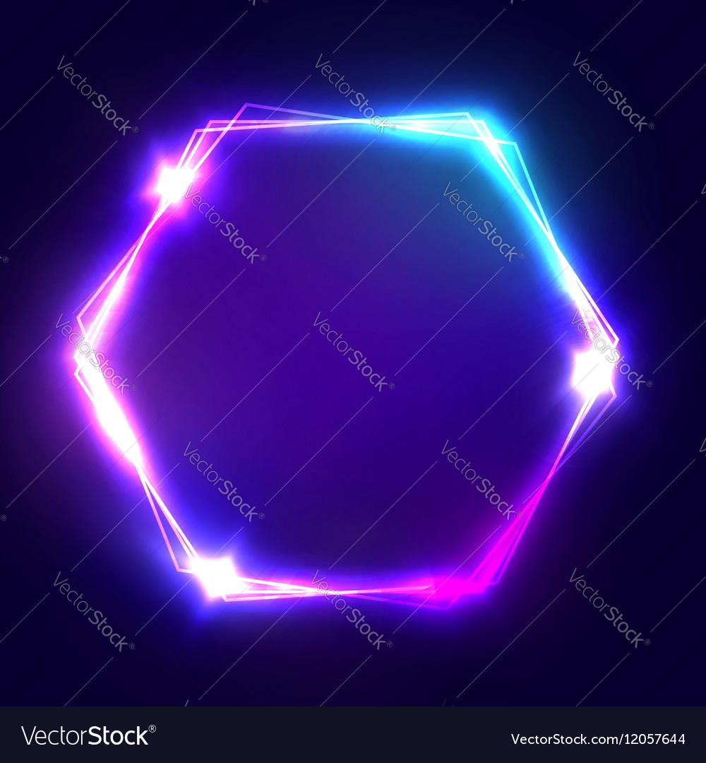 neon sign hexagon glowing light banner royalty free vector