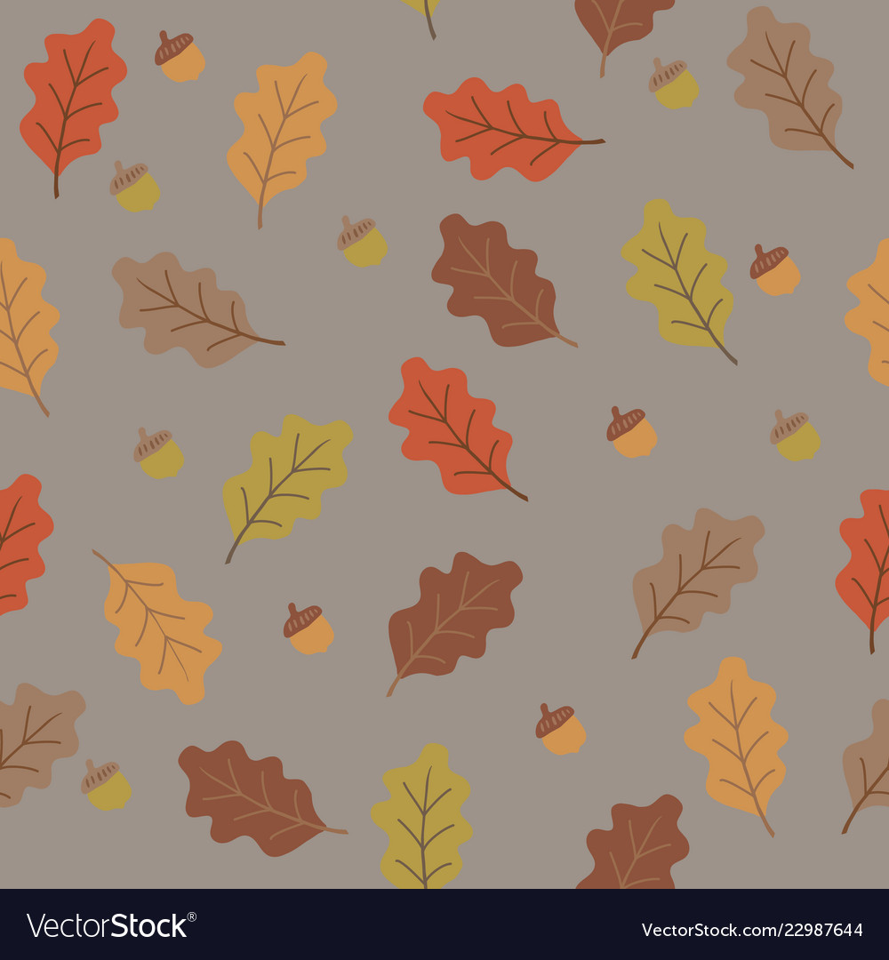Orange yellow brown and beige oak tree leaves and