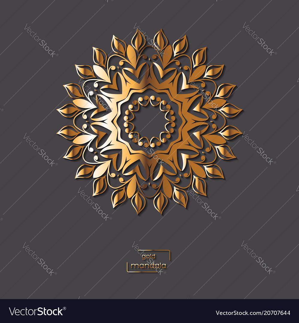 Ornamental Golden Flower Mandala On Grey Color Vector Image