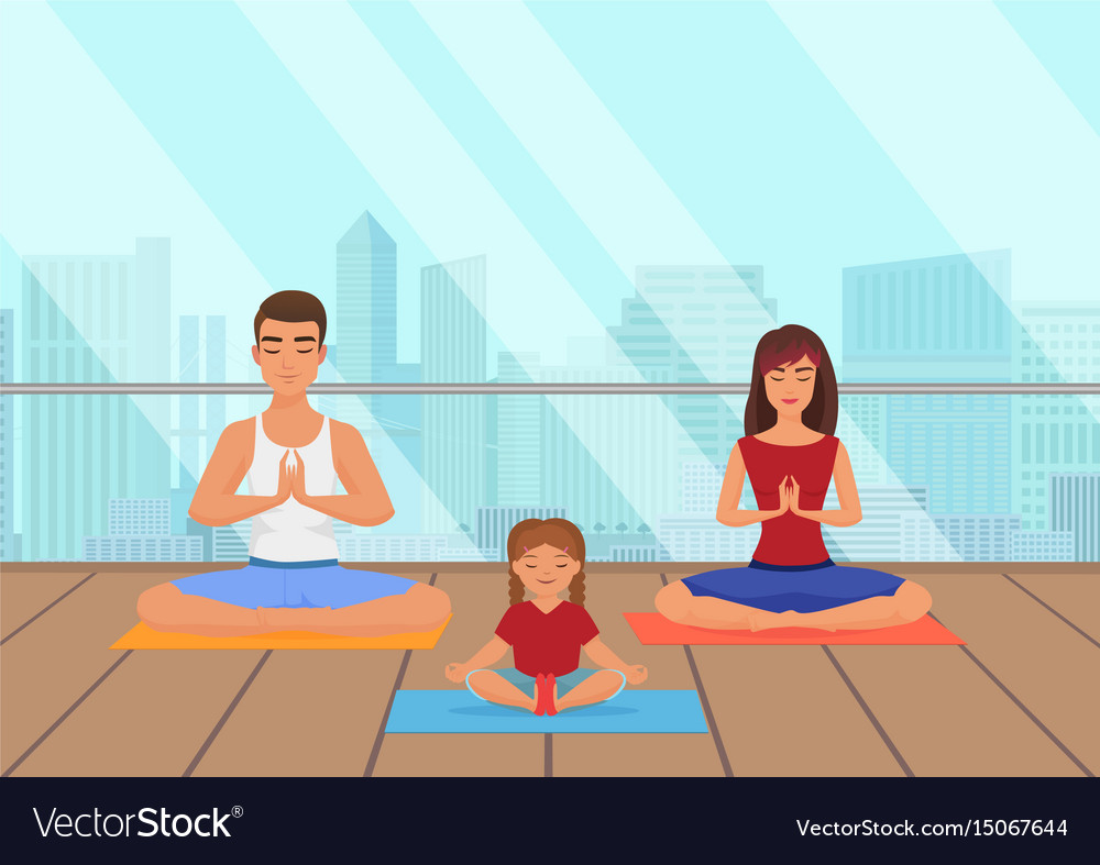 Parents with kid does yoga various exercises