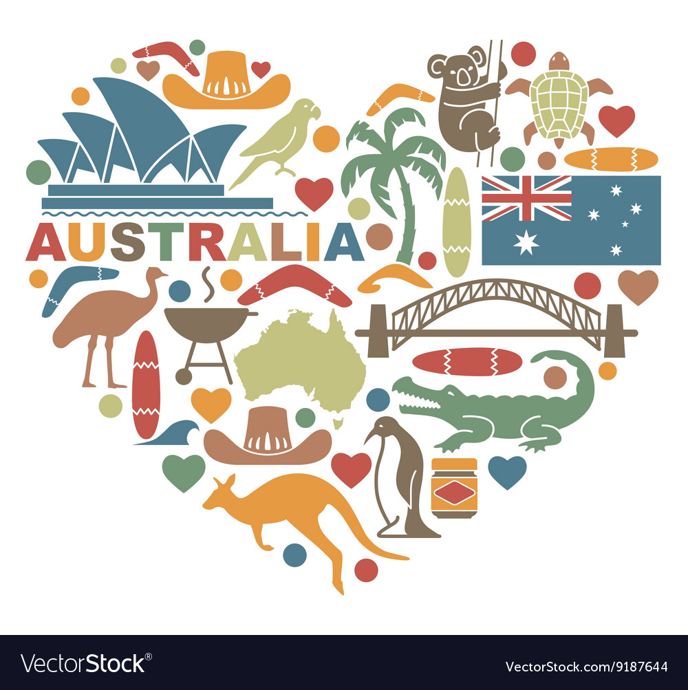 Symbols Of Australia In The Shape Of A Heart Vector Image