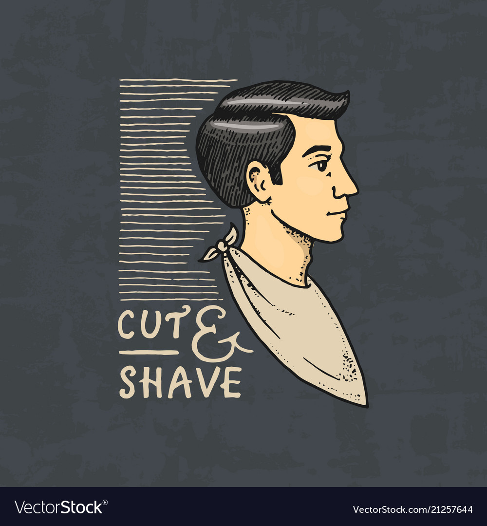 The man in the barber shop badge label logo