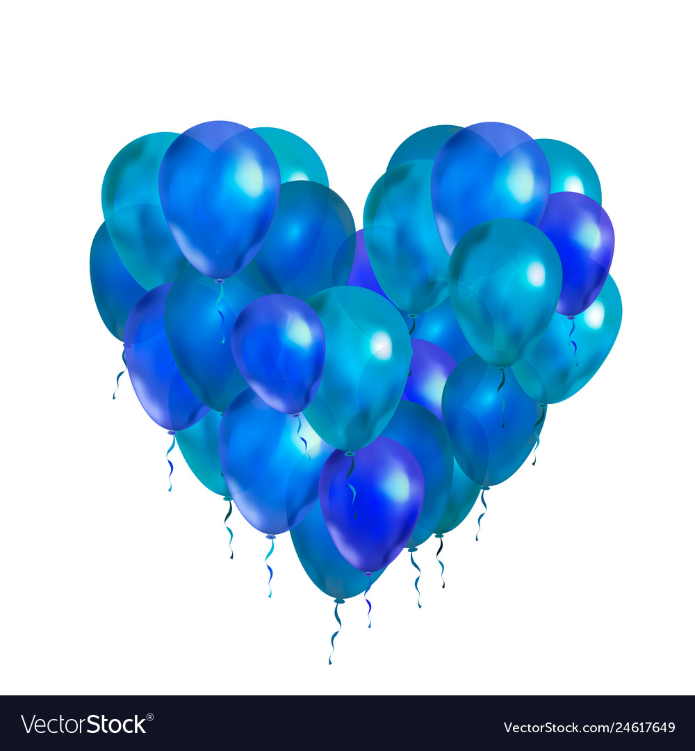 A lot of blue balloons in heart shape on white