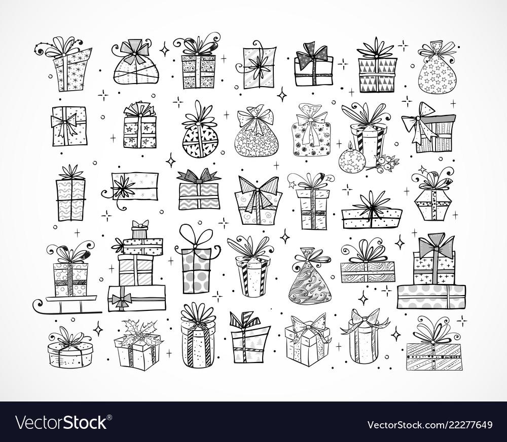 Big set doodle christmas gift boxes on white