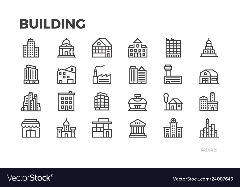 Building icons city house home architecture