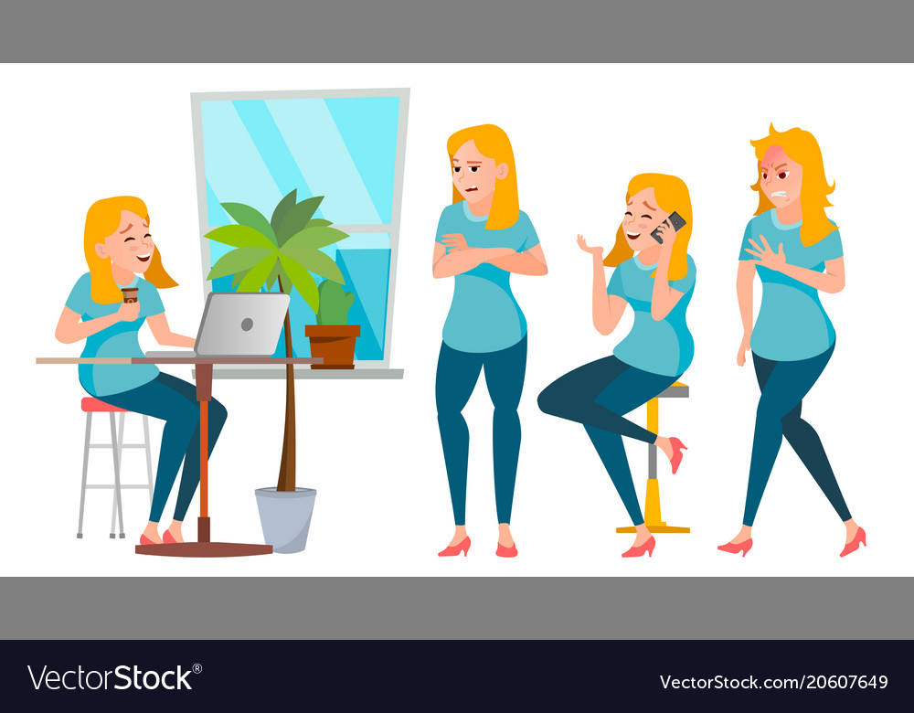 Business woman character set working