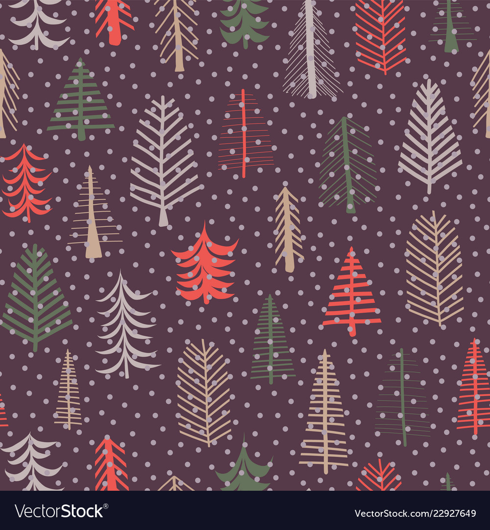 Christmas tree seamless pattern repeat tile purple