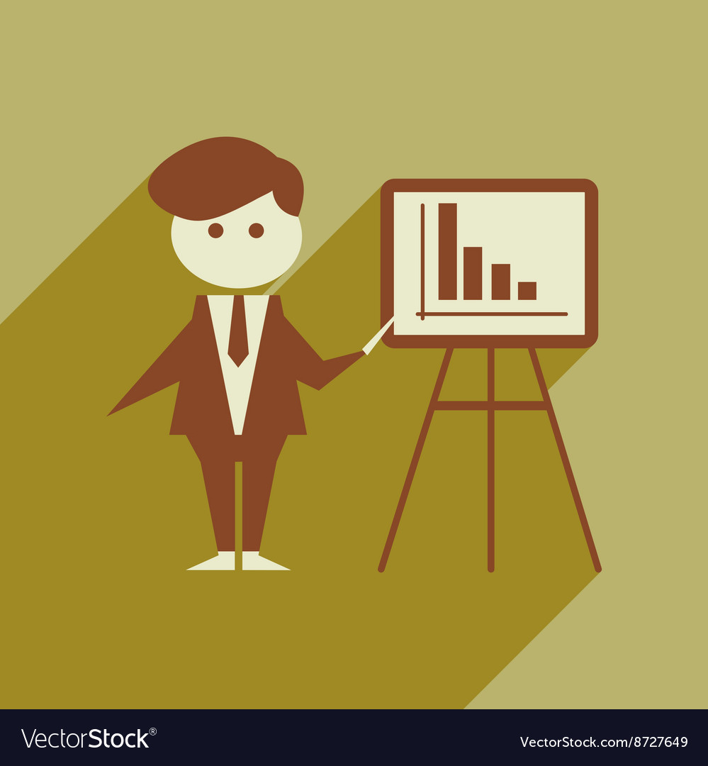 Flat web icon with long shadow businessman