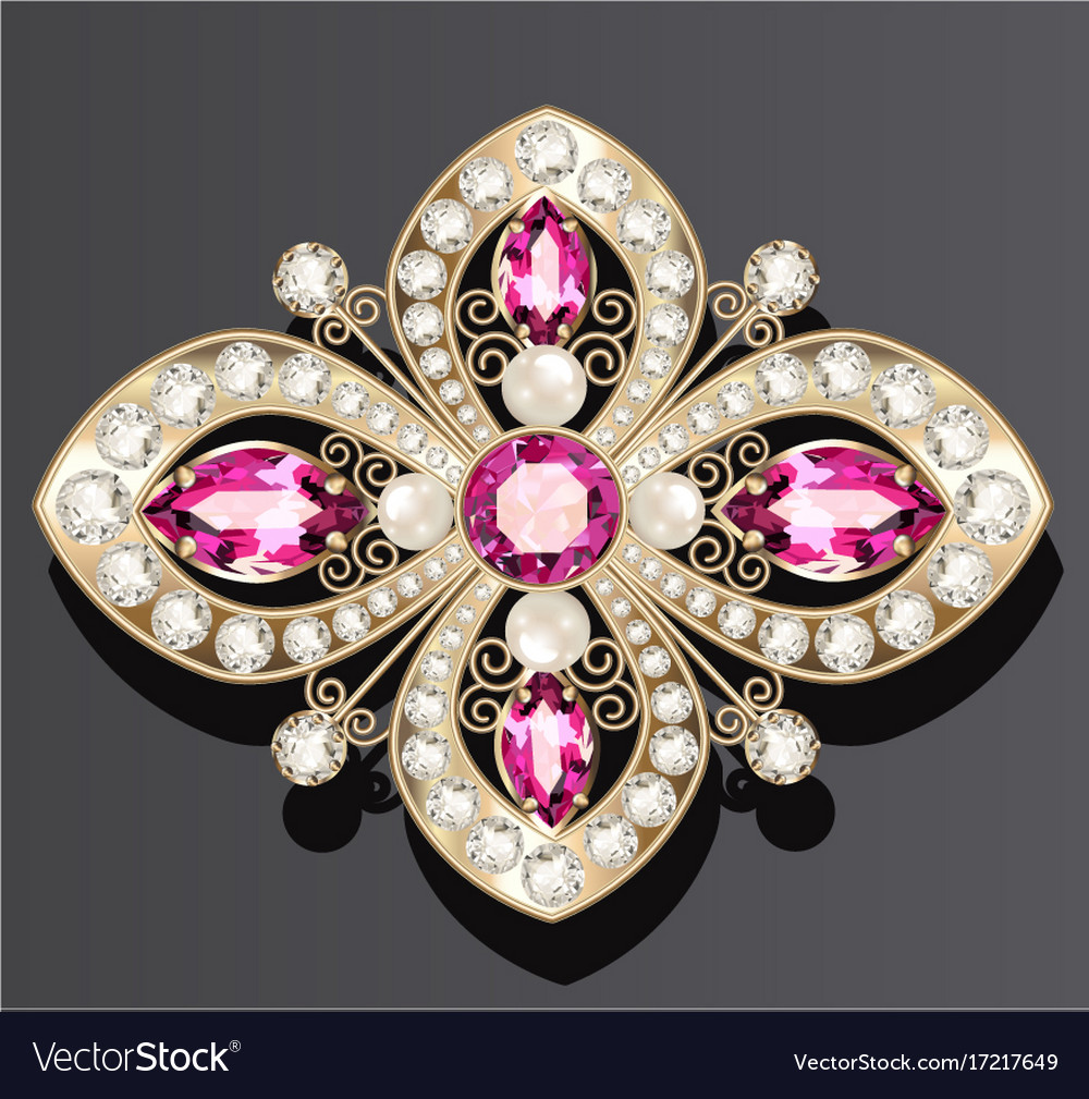 a0fc410536f47 Gold jewelry brooch with rubies and pearls