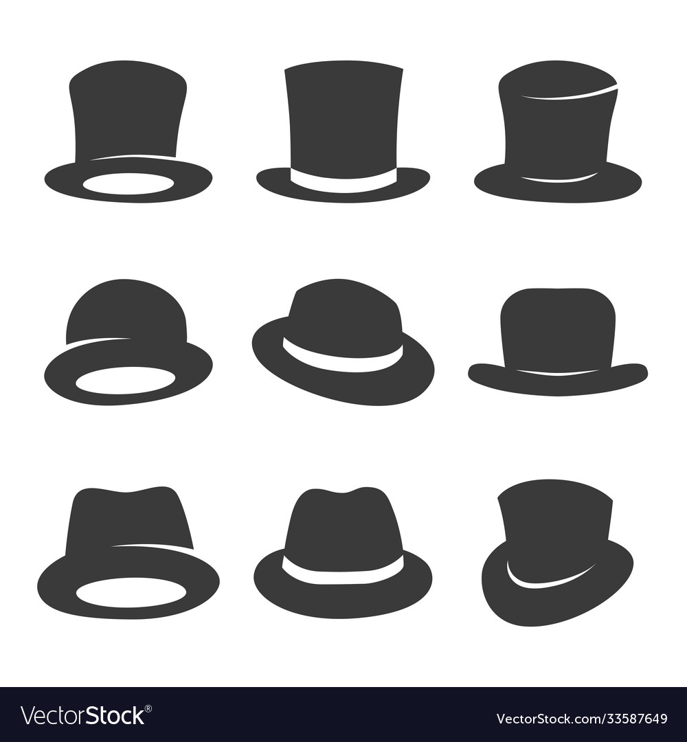 Hipster and gentleman hat icon set