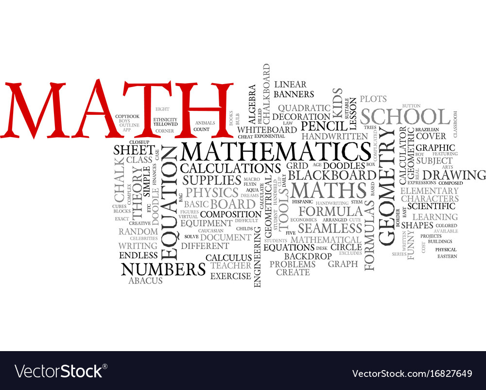 math word cloud concept royalty free vector image