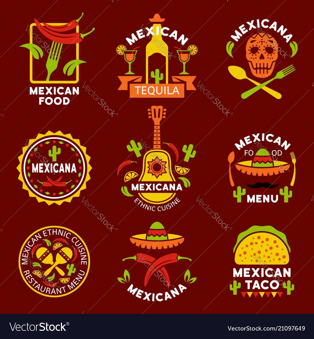 Mexican ethnic cuisine logos labels emblems