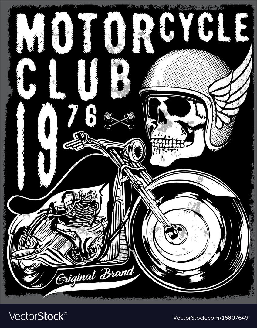 Motorcycle poster skull tee graphic design vector image