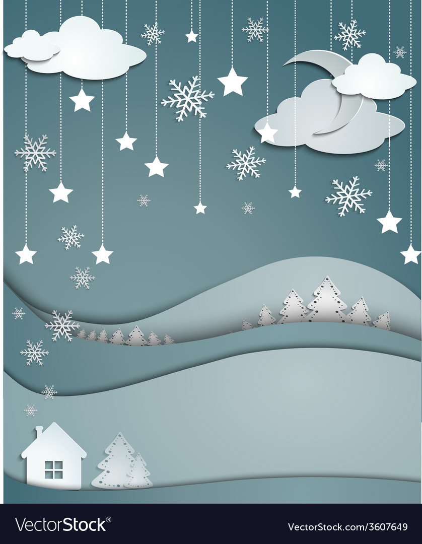 Night winter background of snowflakes trees house