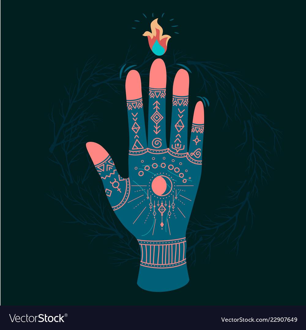 Ornate hands with sacred symbols
