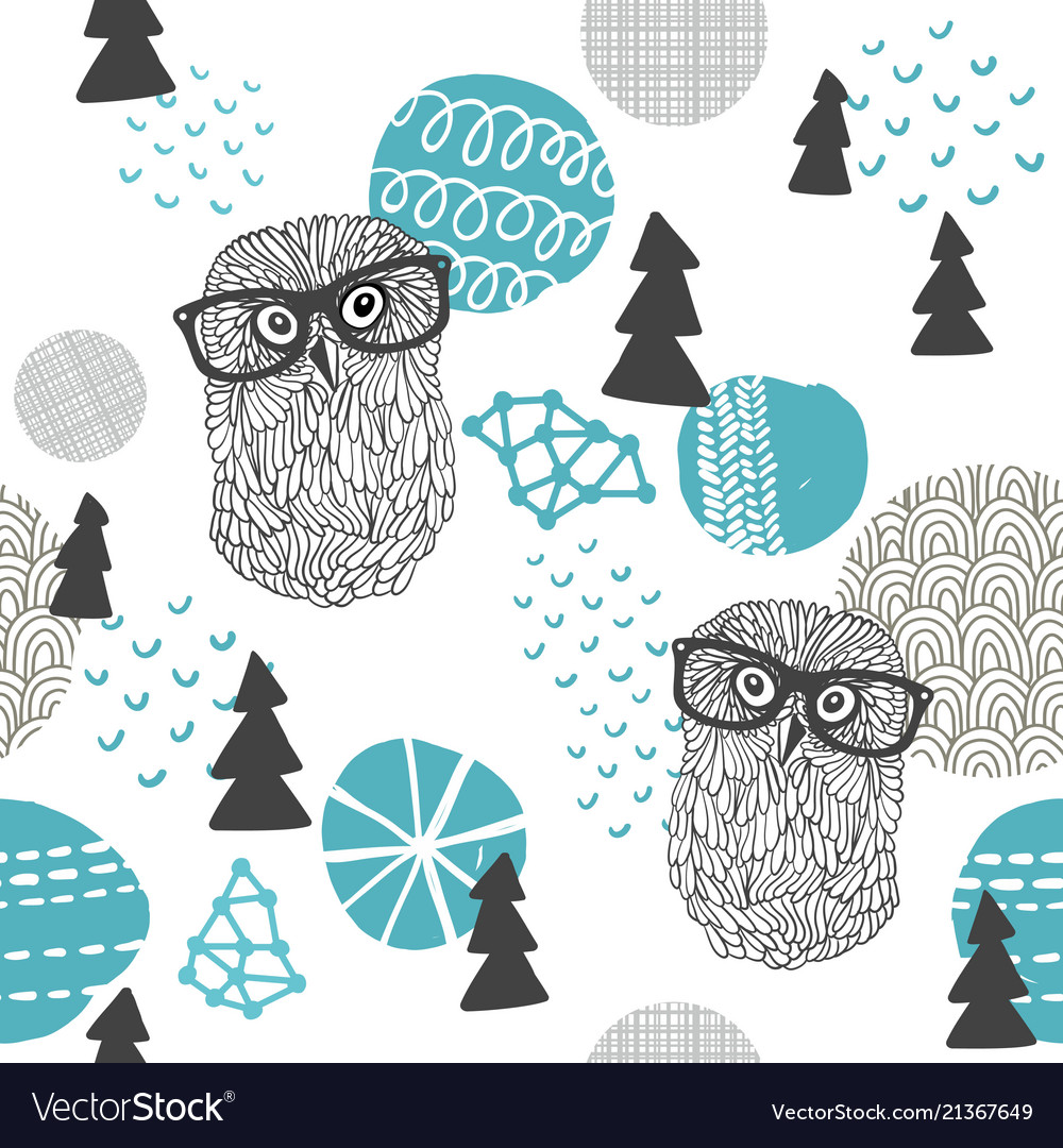 Polar owl seamless pattern