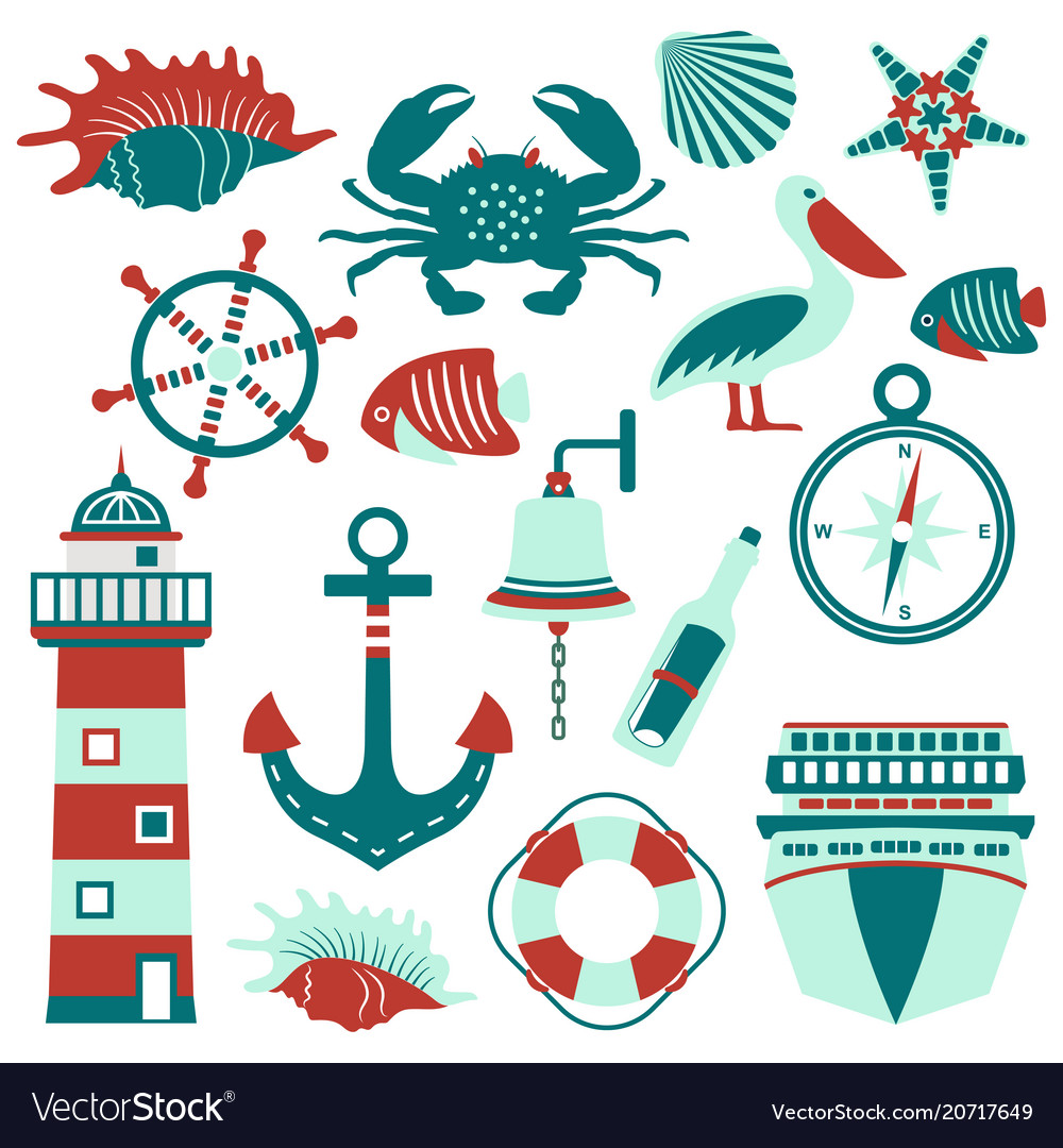 Set of nautical design elements in flat style vector image