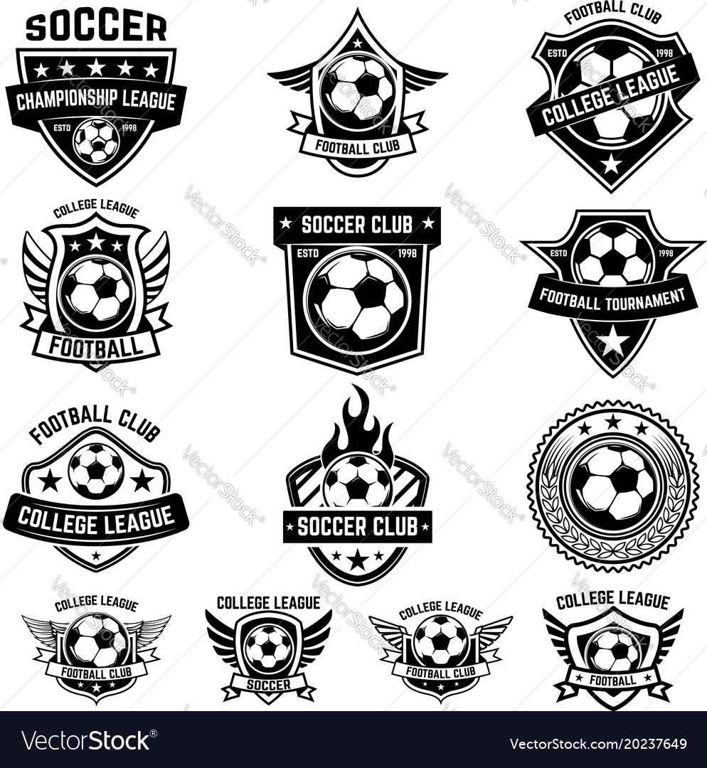 Set winged emblems with soccer ball design