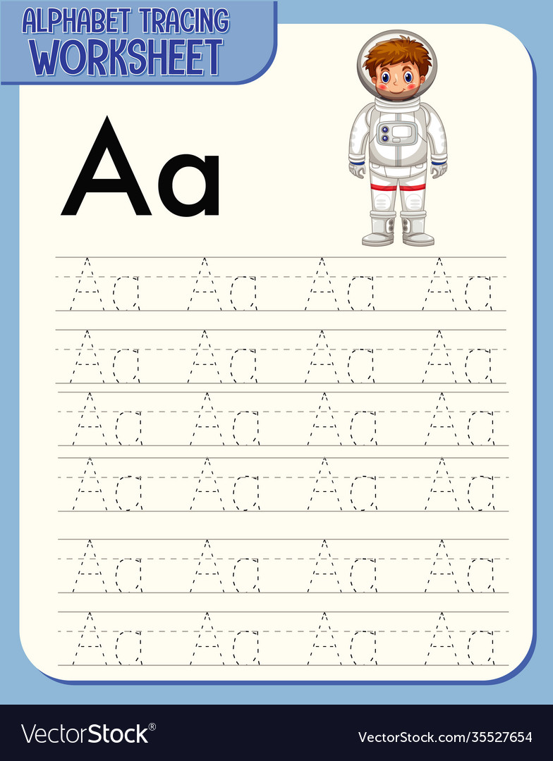 Alphabet tracing worksheet with letter a and a