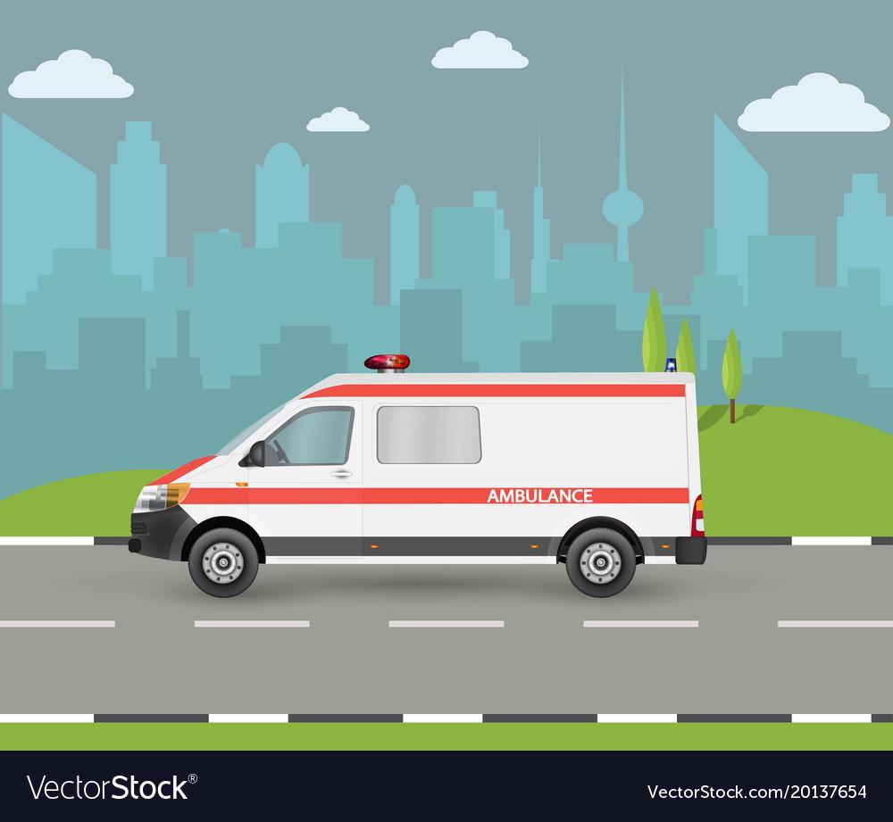 Ambulance car city landscape with