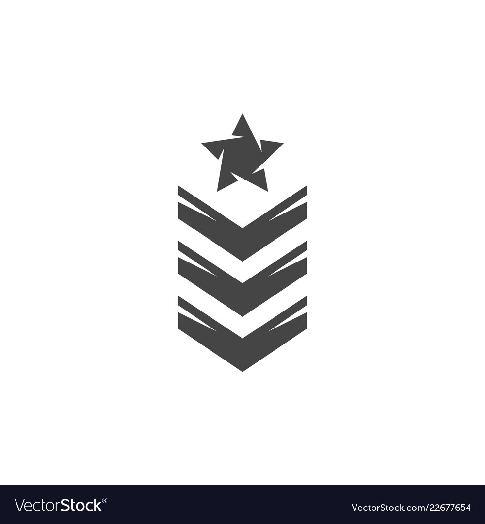 Army rank icon logo on white background